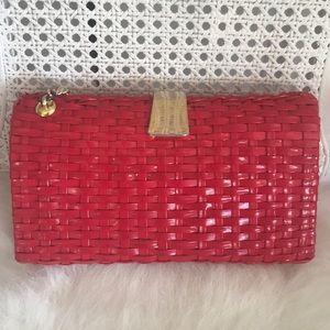 FIRM🤩Vintage 1960's Red Plastic Wicker handbag